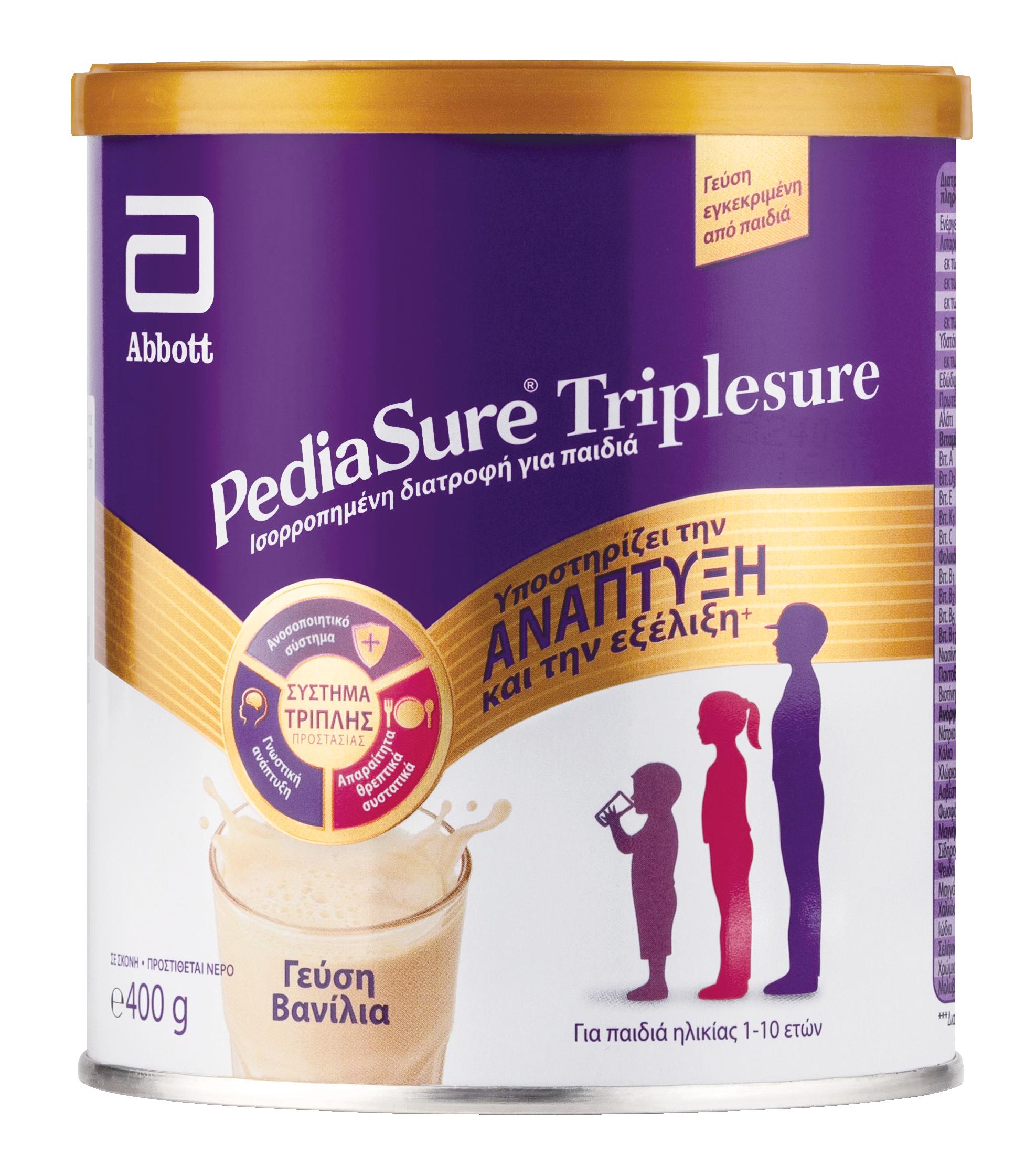 To Pediasure TripleSure αποτελεί ένα συμπλήρωμα διατροφής για παιδιά ηλικίας από 1 έως 10 ετών, με πιθανώς ανεπαρκή πρόσληψη θρεπτικών ουσιών.